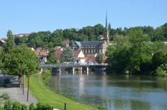 Eglise catholique Saint-Maimboeuf - Français:   Église Saint-Maimbœuf et l\'Allan a Montbéliard, Doubs, Franche-Comté, France