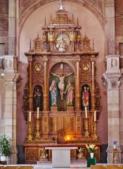 Eglise catholique Saint-Maimboeuf - Deutsch: Hochaltar von St. Maimboeuf, Montbéliard, Département Doubs, Region Franche-Comté (heute Burgund-Franche-Comté), Frankreich