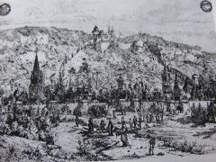 Tour de la Sergenterie - Français:   Croquis réalisé par Claude Luc en 1650, de Poligny dans le Jura, et de son château fort au XVIe siècle