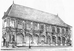 Hôtel de ville - Français:   Gravue représentant l\'hôtel de ville de Gray au XIXe siècle.