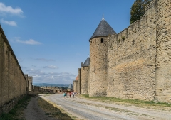 Cité de Carcassonne - English: Ramparts of the historic fortified city of Carcassone, Aude, France
