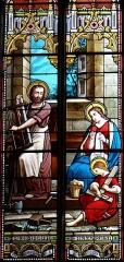 Eglise Saint-Michel - Français:   Espéraza - Église Saint-Michel - Intérieur de l\'atelier de saint Joseph à Nazareth avec Jésus et Marie