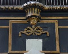 Eglise Saint-Paul, ancienne église des Cordeliers - Français:   panneau central où le trophée appendu au nœud Marie-Antoinette est manquant