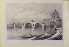 Via Domitia : Pont d'Ambrussum -  Pont Ambroix on the Vidourle in Herault  As printed by Thierry Freres in 1839