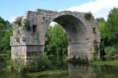 Via Domitia : Pont d'Ambrussum -  Remaining arch of Pont Ambroix, 1st century BC Roman bridge part of the Via Domitia, Ambrussum, France