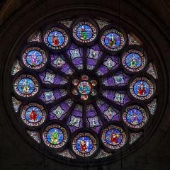 Cathédrale Saint-Pierre - Vitrail en rosace (coté Ouest) de la Cathédrale Saint-Pierre à Montpellier (France)