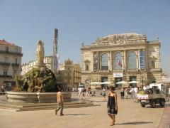 Fontaine des Trois Grâces - English: Theatre and fountain on the Place de la Comédie in Montpellier, France.