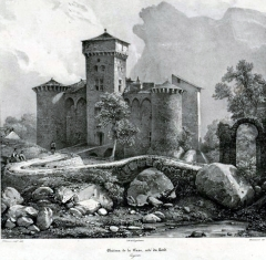 Château de la Caze - Français:   Gravure représentant le château de la Caze en Lozère. Vue générale Nord-Est. Lithographie N/B Thierry Frères, Paris. 18x26 cm.