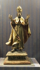 Eglise Saint-Saturnin - English: Wooden statue of a bishop, dated 1699, in