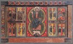Eglise Saint-Martin de Hix -  Frontal pintado al temple con restos de hoja metálica sobre tabla de pino. Datado en el segundo cuarto del siglo XII. Mide unos 155 x 90 cm y procede de la iglesia parroquial de Sant Martí de Ix (La Guingueta d'Ix, Alta Cerdanya). Referencia MNAC 015802-000.
