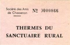 Restes d'un amphithéâtre - Français:   Un ticket d\'entrée aux thermes de Chassenon, Charente, France vers 1986.