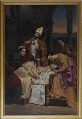 Eglise Saint-Vivien -  Saint Bibianus of Saintes staying at the sicks' bedside   .