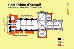 Eglise Saint-Pierre - Deutsch: St-Pierre de Pont-l'Abbé-d'Arnoult (17), Grundriss, Hanmdskizze