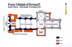 Eglise Saint-Pierre - Deutsch: Pont-l'Abbé-d'Arnoult, Grundriss ehemalige Prioratskirche
