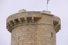 Vieux Phare des Baleines et phare des Baleineaux - Français:   Le sommet de la Tour des Baleines: le balcon est porté par un ensemble de corbeaux (consoles).  Construite sur ordre de Colbert entre 1666 et 1682 à l'extrémité nord-ouest de l' Île de Ré, la Tour des Baleines avait pour but de faire diminuer le nombre de naufrages de navire dans le pertuis d' Antioche et de servir de protection avancée à l' arsenal de Rochefort-sur-Mer .  Cette tour , qui est un des plus vieux phares de France, a été équipée de différents systèmes lumineux. En premier, par un feu alimenté avec de l' huile de baleine puis avec du charbon, ensuite une lanterne à réverbère a été installée, cette dernière a été finalement remplacée par un feu tournant à éclipses. Se révélant peu efficace pour prévenir des naufrages (hauteur et portée lumineuse insuffisantes), la Tour des Baleines a été remplacée à partir de 1854 par  un ensemble de deux phares: le Phare des Baleines  et le Phare des Baleinaux. Elle a été classée bâtiment historique en 1904. La Tour des Baleines mesure 29 mètres de haut et 8 mètres de diamètre.  Elle a été entièrement restaurée en 2006-2007, de même que le bâtiment qui lui est accolé. Ce bâtiment abrite maintenant un musée. Présentée d'une manière synthétique, la Tour des Baleines (tour à feu) a servi de fanal, d' amer et de poste d' observation maritime de 1682 à 1854 (172 ans).  Site du Phare des Baleines, Saint-Clément-des-Baleines, Île de Ré, Charente Maritime, France.