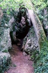 Château de la Rochecourbon - Français:   Entrée d\'une grotte. Parc du château de la Roche-Courbon.     Château de la Roche-Courbon, Saint-Porchaire, Charente-Maritime, France.