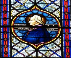 Eglise Saint-Pierre - English: Saintes ( Charente-Maritime ). Cathédrale Saint-Pierre: Stained glass window showing the beatified bishop La Rochefoucauld,