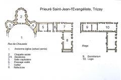 Ruines de l'ancienne abbaye - Français:   Plan du prieuré de Trizay
