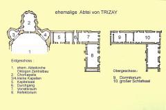 Ruines de l'ancienne abbaye - Deutsch: ehemalge Abtei Tritzay, Grundrisse, Handskizze