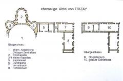 Ruines de l'ancienne abbaye - Deutsch: Abtei Trizay, Lageplan, EG u. OG