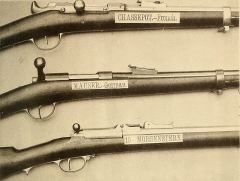 Manufacture d'armes, actuellement Musée de l'automobile - English:  French Chassepot breechloader German Mauser breechloader William Morgenstern carbine, caliber .42   Identifier: reportofboardof00unit (find matches)  Title: Report of the Board of officers appointed in pursuance of the act of Congress approved June 6, 1872, for the purpose of selecting a breech-system for the muskets and carbines of the military service, together with their report upon the subject of trowel-bayonets;  Year: 1873 (1870s)  Authors:  United States. Board on Breech-loading Small-arms United States. Army. Ordnance Dept  Subjects:  United States. Army Firearms Bayonets  Publisher:  Washington, Govt. Print. Off.  Contributing Library:  Library of the Marine Corps  Digitizing Sponsor:  Library of the Marine Corps    View Book Page: Book Viewer  About This Book: Catalog Entry  View All Images: All Images From Book  Click here to view book online to see this illustration in context in a browseable online version of this book.    Text Appearing Before Image:  EjWPSlSOH  Text Appearing After Image:  '    Note About Images   Please note that these images are extracted from scanned page images that may have been digitally enhanced for readability - coloration and appearance of these illustrations may not perfectly resemble the original work.