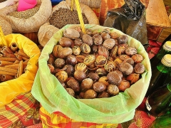 Marché central couvert - English: nutmeg on sale at the St Antoine market in Pointe-to-pitre in Guadeloupe