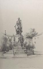 Château, actuellement Musée municipal - Louise Marie Oudinot, comtesse de Vesins (1816-1909). La Statue du Maréchal Oudinot. Signé, monogramme de la papeterie Jean d'heurs. Musée barrois (Bar-le-Duc)