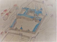Ancienne abbaye - Français:   Dessin de la 2ème abbaye, reconstruite dans la première moitié du XVIIIème et détruite dans la seconde moitié du XVIIIème siècle