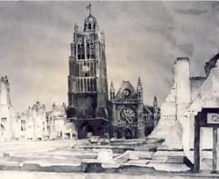 Eglise Saint-Eloi - Deutsch: Zeichnung von Hans Seyppel aus dem Jahre 1941 in Nordfrankreich
