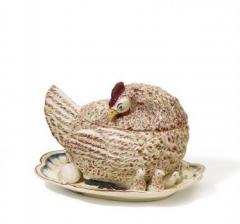 Ancienne poterie Gibon - Français:   Poule en faience, Manufacture de Ferrière-la-Petite, France, ca. 1800