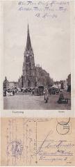 Eglise Saint-Christophe - Tourcoing (France - dép. du Nord) — kirche  v°-r°  Église Saint Christophe et place de la République durant la Première Guerre Mondiale. Courrier d'un militaire allemand. Feld-Post