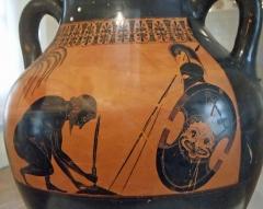 Château d'Aumont - Deutsch: Vorbereitung des Ajax auf seinen Selbstmord. Bild auf der attisch-schwarzfigurigen, von Exekias bemalten Amphora; um 530/25 v. Chr., heute im Château-musée de Boulogne-sur-Mer.