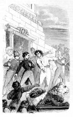 Colonne de la Grande Armée de Boulogne -  Tentative de soulèvement de Boulogne (1840). Louis-Napoléon et ses partisans au pied de la colonne.