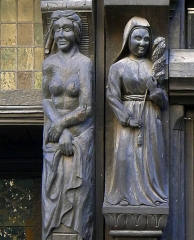 Maison - Français:   Sculptures de maisons sises rue de l\'Oisellerie à Angers (France)