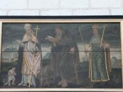 Eglise paroissiale (ancienne chapelle du château) - Français:   Église Notre-Dame de Montreuil-Bellay - Peinture sur panneau de bois, côté sud de la nef: saint Claude, saint Antoine, et saint Louis (Maine-et-Loire, Pays de la Loire).