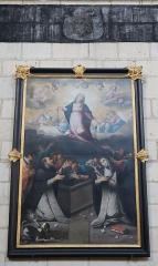 Eglise paroissiale (ancienne chapelle du château) - Français:   Intérieur de la collégiale Notre-Dame de Montreuil-Bellay (49). Tableau. Assomption et dation du Rosaire.
