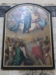 Eglise paroissiale (ancienne chapelle du château) - Français:   Intérieur de la collégiale Notre-Dame de Montreuil-Bellay (49). Tableau. Assomption et Couronnement de la Vierge.
