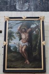 Eglise paroissiale (ancienne chapelle du château) - Français:   Intérieur de la collégiale Notre-Dame de Montreuil-Bellay (49). Tableau. Saint-Sébastien.