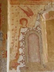 Eglise paroissiale Notre-Dame - Français:   Fresques ornant le mur est de la chapelle Sainte-Anne de l\'église Notre-Dame de Cossé-en-Champagne (53). Annonciation.