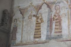 Eglise - Deutsch: Kirche Saint-Hilaire in Asnières-sur-Vègre im Département Sarthe (Pays de la Loire/Frankreich), Wandmalereien aus dem 13. bis 15. Jahrhundert