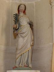 Eglise - Français:   Église Saint-Laurent de Neuvy-en-Champagne (72). Statue de Sainte-Emerencienne.