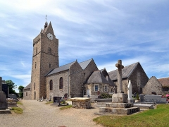 Eglise et cimetière qui l'entoure - Saint-Germain-sur-Ay (Manche)