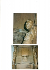 Eglise Notre-Dame - English: Arm-rest and misericord from choir of the cathedral of St Lô (50) France