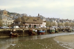 Halle aux poissons dite poissonnerie -  Trouville at low water - fishing fleet unloads at the fish market