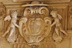 Ancienne abbaye Saint-Bénigne - English: Wood relief with the coat of arms of Cardinal Mazarin. Lintel of the doors of the Reading Room, the Bibliothèque Mazarine, Paris.