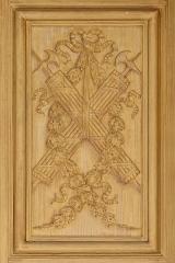 Ancienne abbaye Saint-Bénigne - English: Woodwork with the symbols of Cardinal Mazarin, doors of the Reading Room, the Bibliothèque Mazarine, Paris.