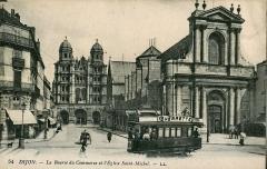 Eglise Saint-Etienne - Carte postale ancienne éditée par LL, n°54:  DIJON - La Bourse du Commerce et l'église Saint-Michel