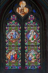 Eglise Saint-Pierre - English:  Stained Glass Chapel of St. Joseph: Marriage of the Virgin, Nativity, Flight into Egypt, Joseph death (19th c).