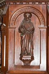 Eglise Saint-Pierre - English:  Panel of the pulpit tank representing an evangelist.