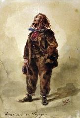 Couvent des Ursulines - Américain en voyage, aquarelle d'Amédée de Noé (1819-1879) dit Cham, XIXe siècle. Inv A 748. Musée des Ursulines de Mâcon, legs Havard 1922.